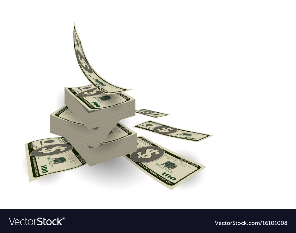 Finance pile of cash dollar bill flow currency vector image