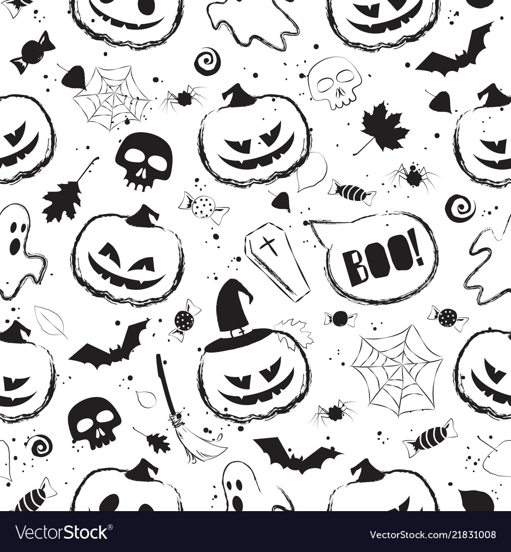 Halloween black and white seamless pattern with