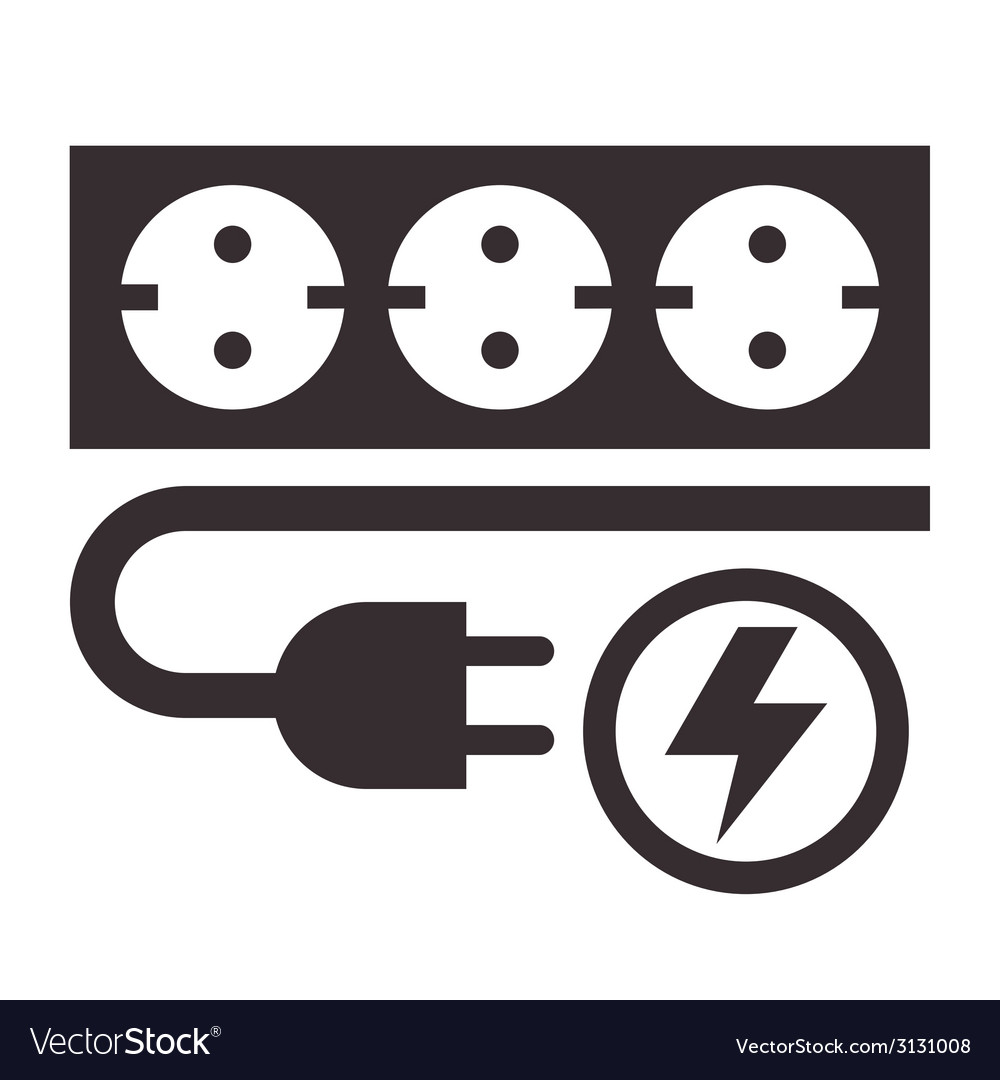 Power Outlet Plug And Lightning Sign Royalty Free Vector