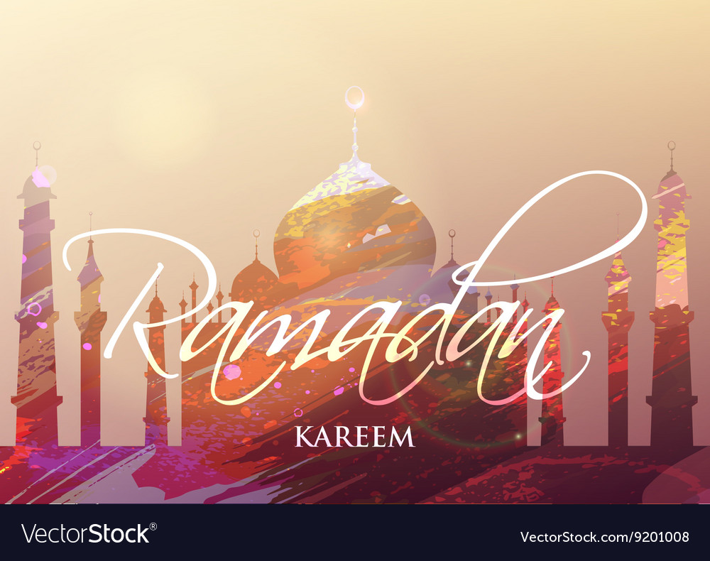 Ramadan KAREEM watercolor mosque