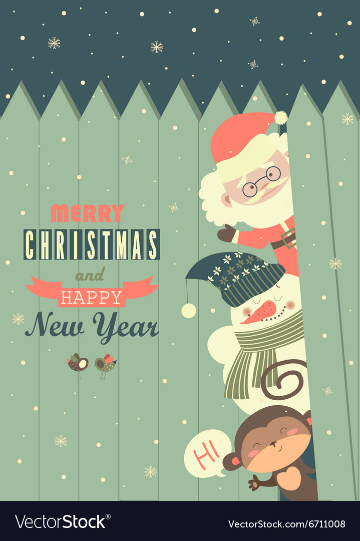 Santamonkeysnowman wishing you Merry Christmas