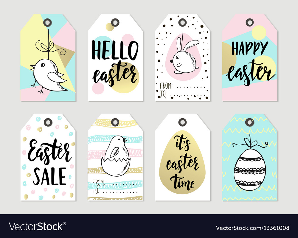 Set with happy easter gift tags and cards