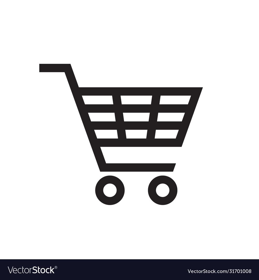 Shopping cart - black icon on white background