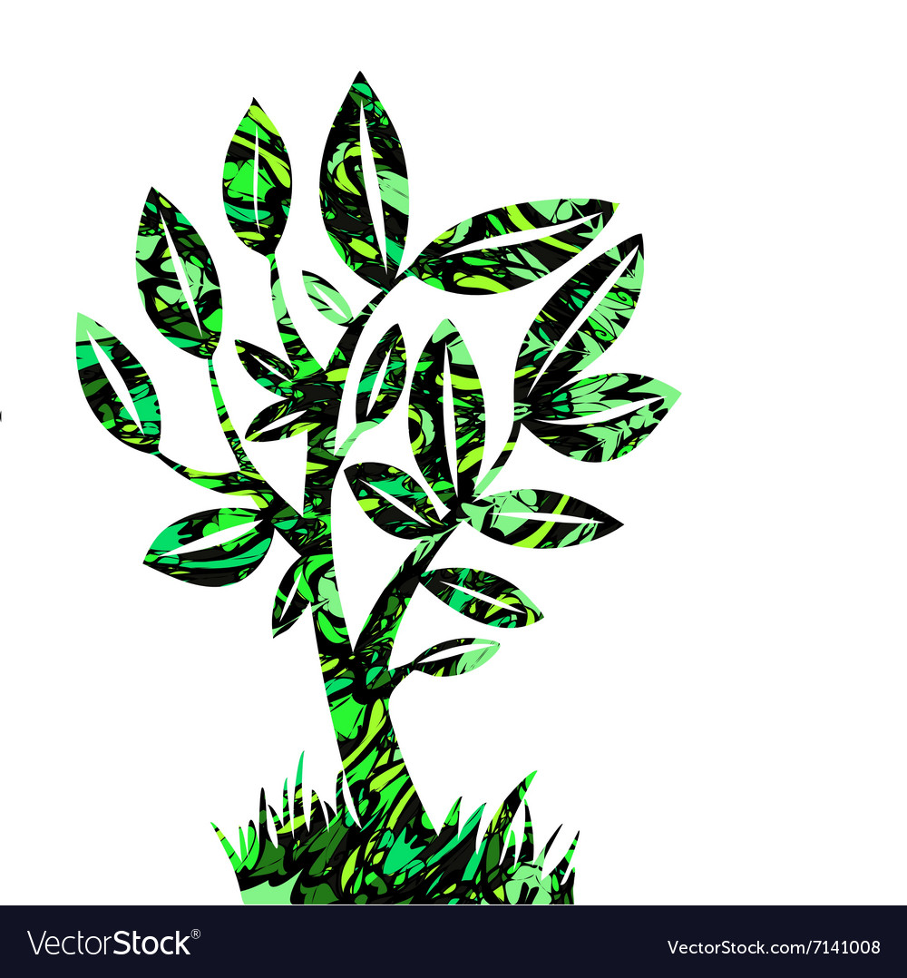 Vecctor summer tree on a paper background vector image