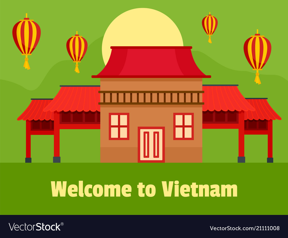 Welcome vietnam background flat style