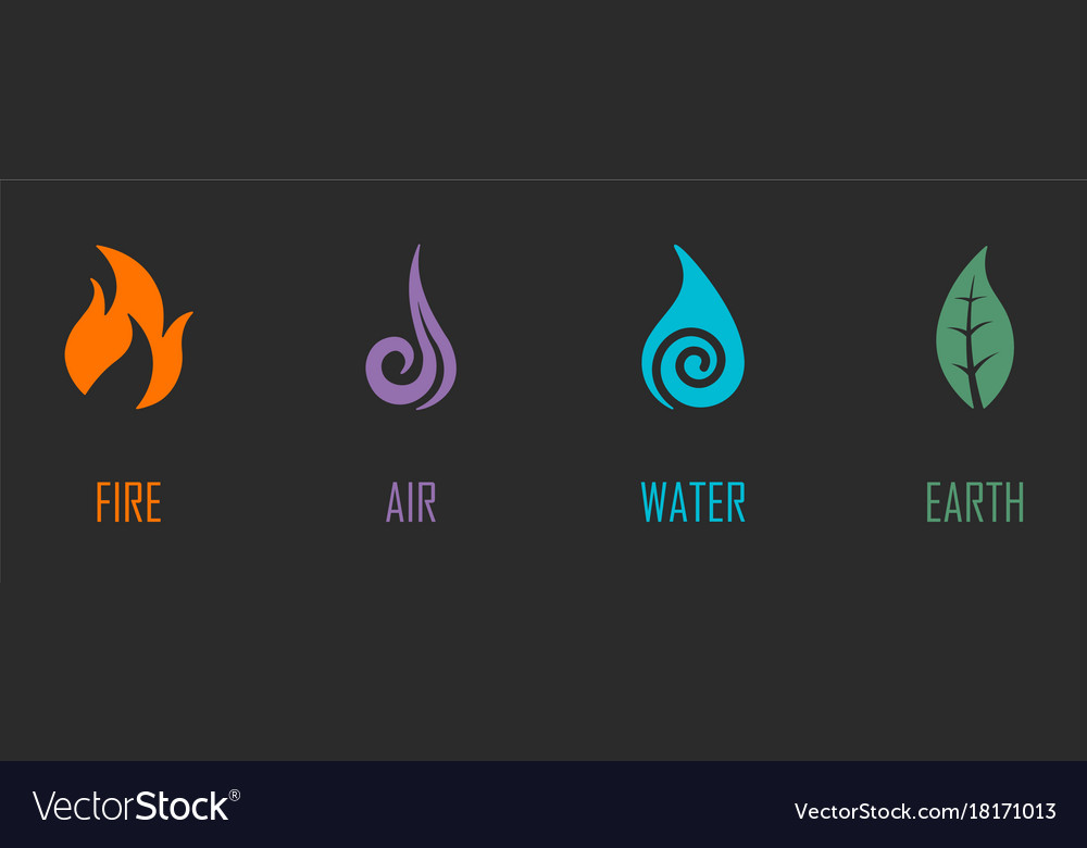 Abstract Four Elements Symbols Royalty Free Vector Image