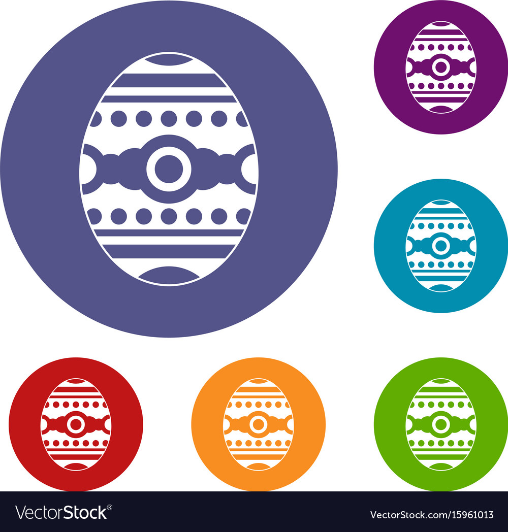 Beautiful easter egg icons set