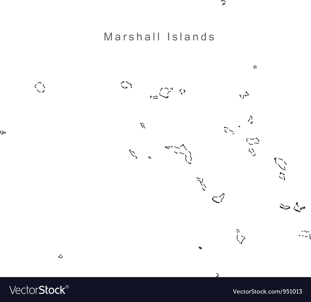 Black White Marshall Islands Outline Map Vector Image