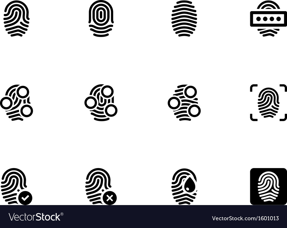 Fingerprint icons on white background vector image