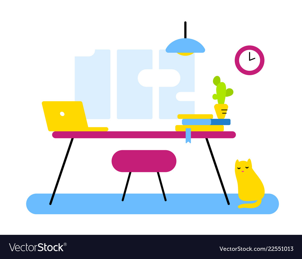 Flat style design of abstract workplace office