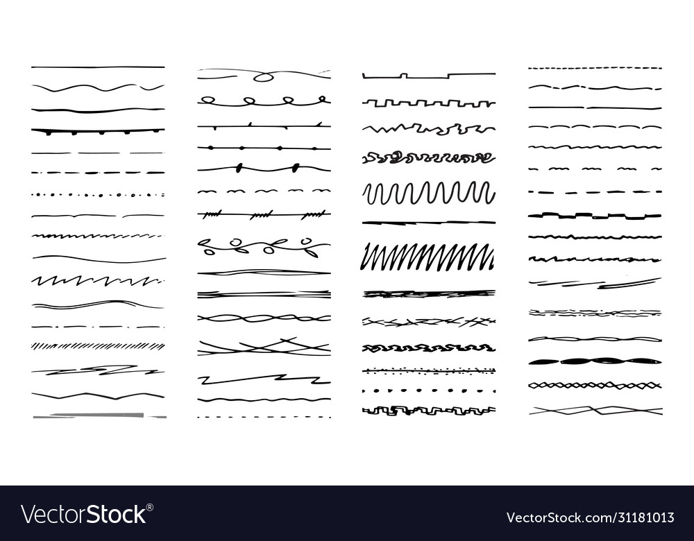 Hand drawn lines ink pen drawn line underlining