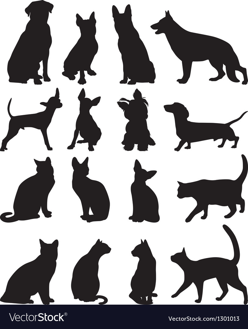 Silhouettes cats and dogs
