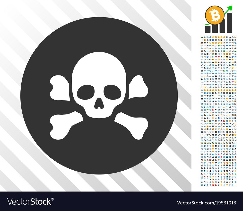 Skull black spot flat icon with bonus