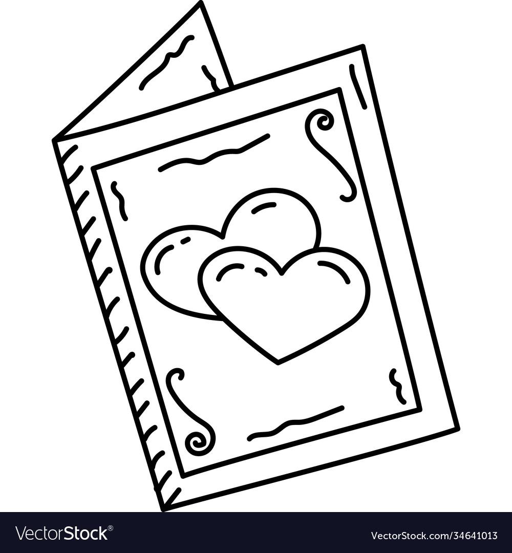 Wedding card icon doddle hand drawn or black