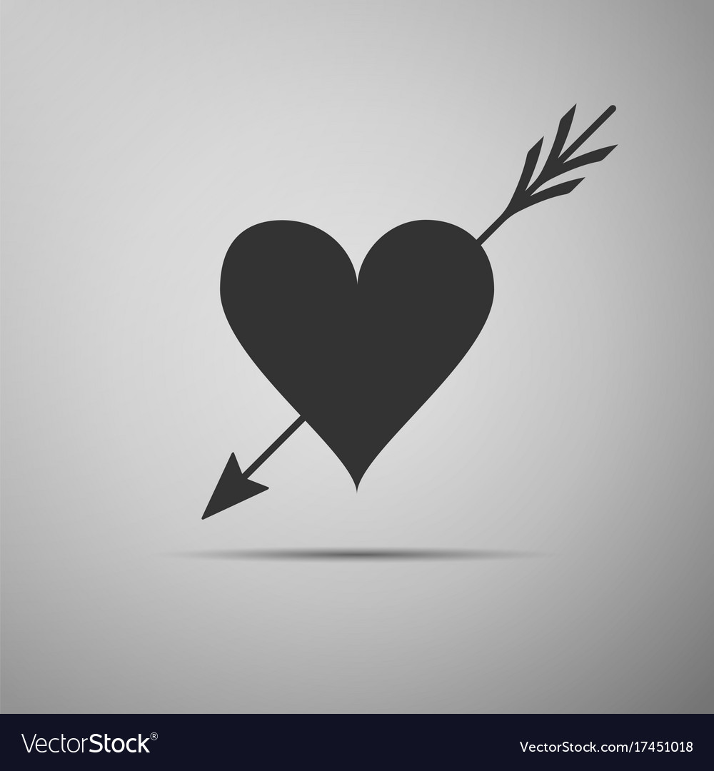 Amour with heart and arrow valentines symbol vector image