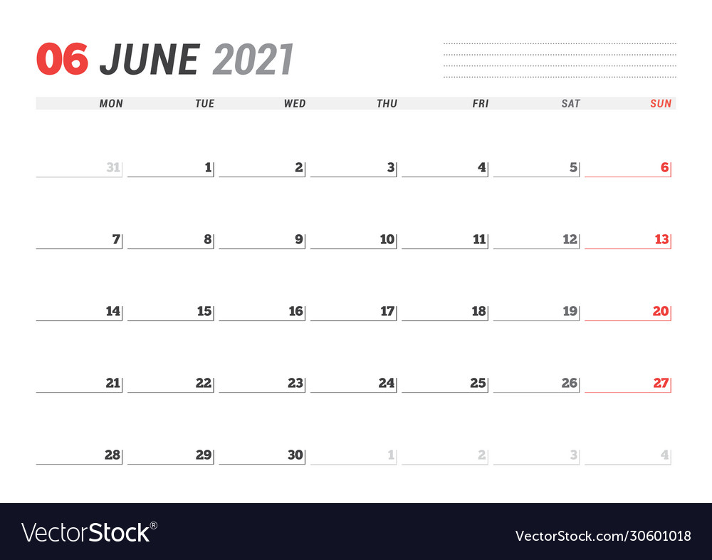 Calendar page for june 2021 monthly planner Vector Image
