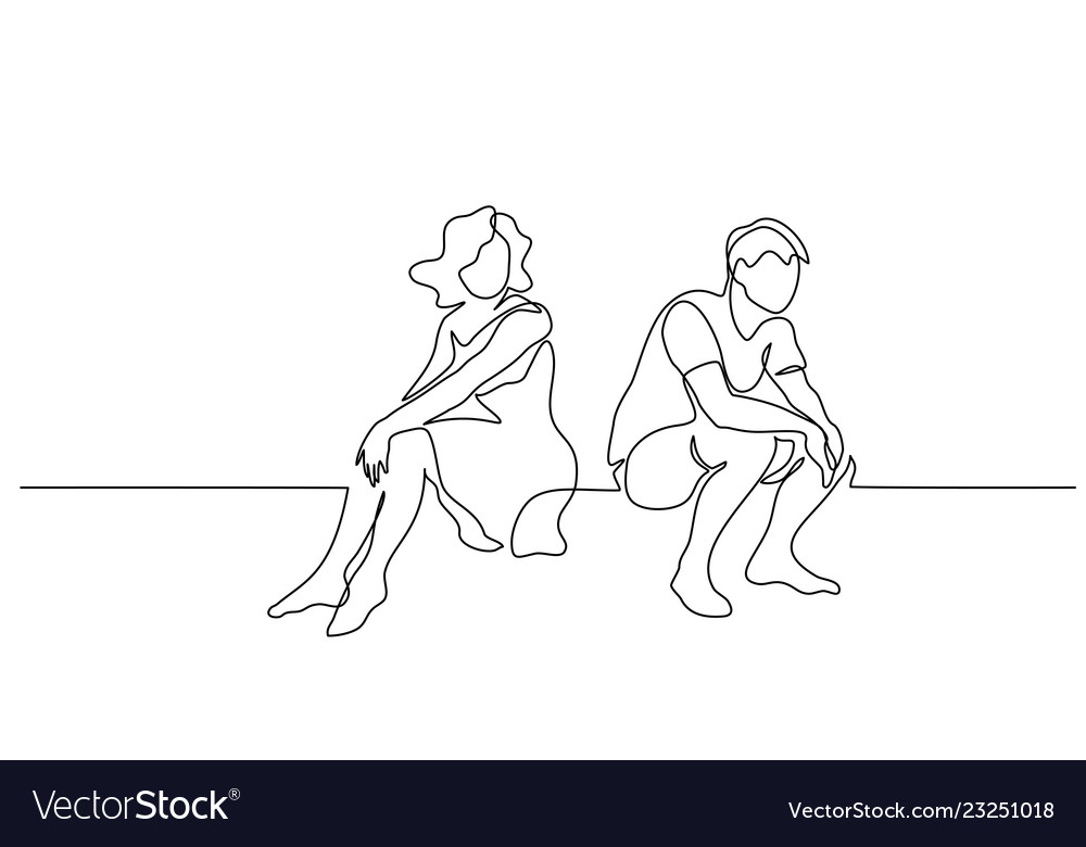 Couple woman and man sitting continuous line
