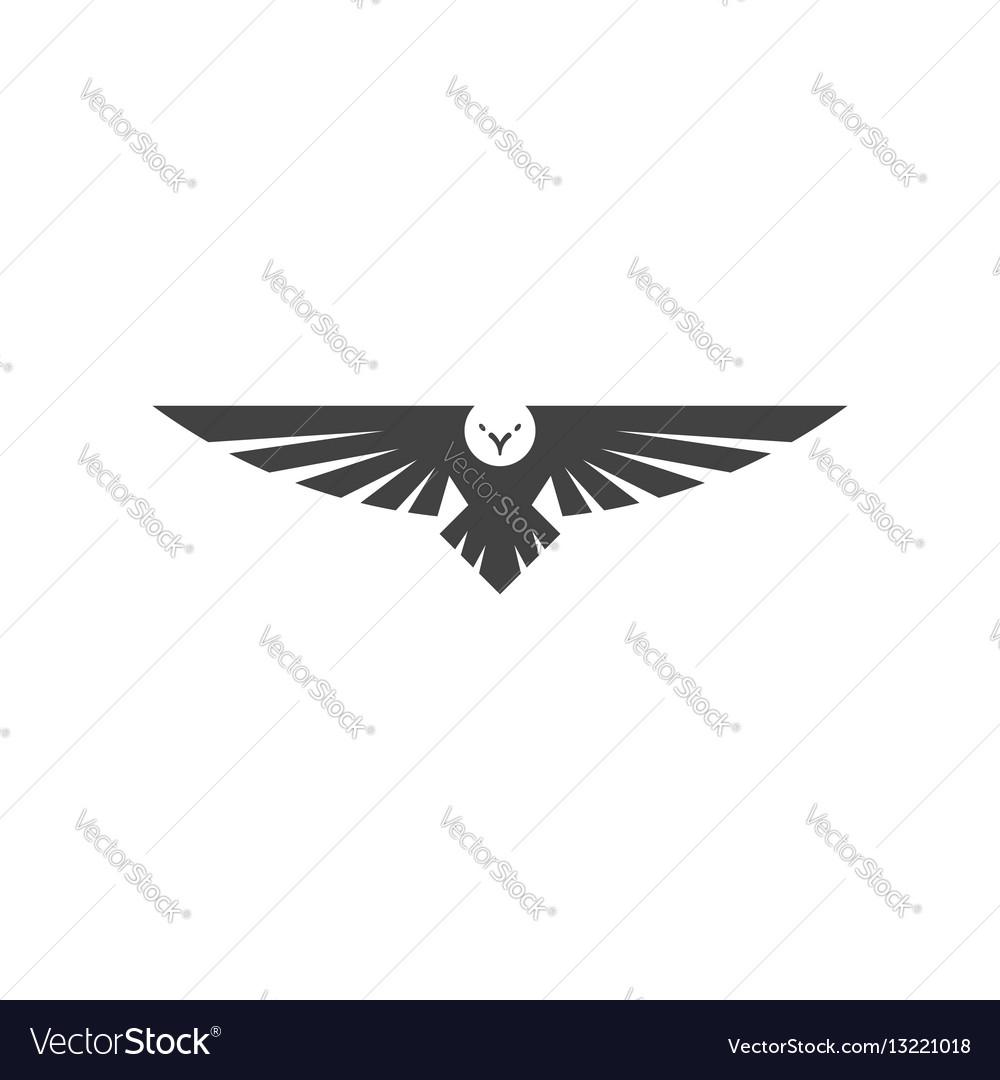 Eagle Logo Silhouette Predator Hawk Bird Wide Vector Image