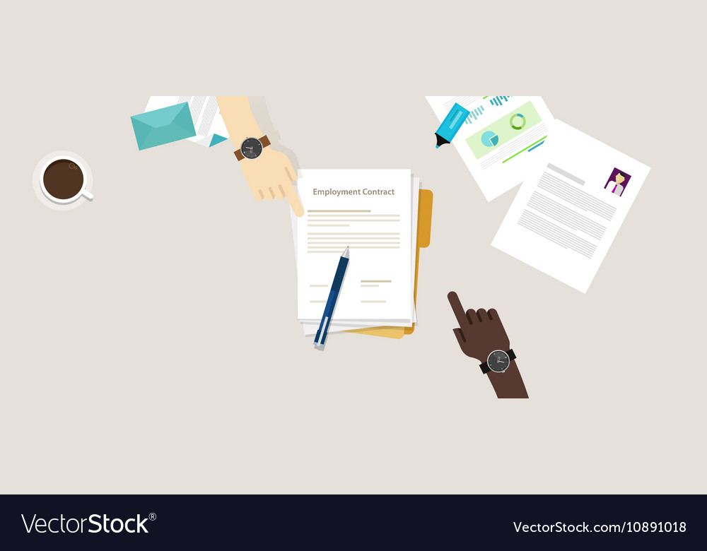 Employment contract paper document desk and hand