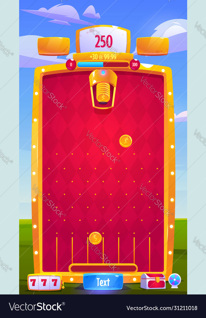 Interface mobile arcade game with coins
