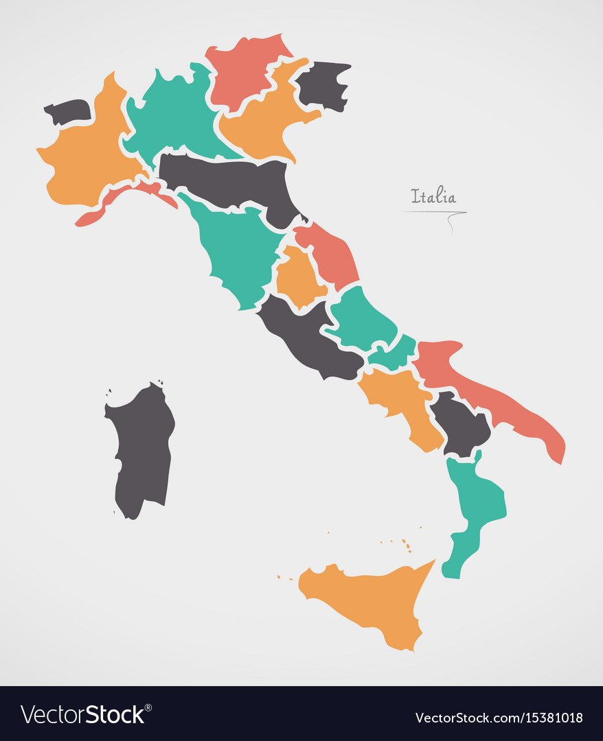 Pdf Map Of Italy.Italian Map With Regions And Modern Round Shapes
