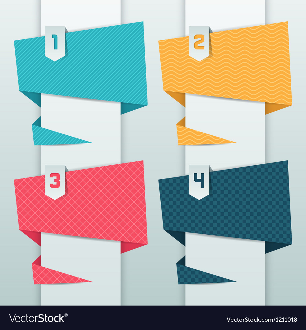 Patterned background numbered origami banners