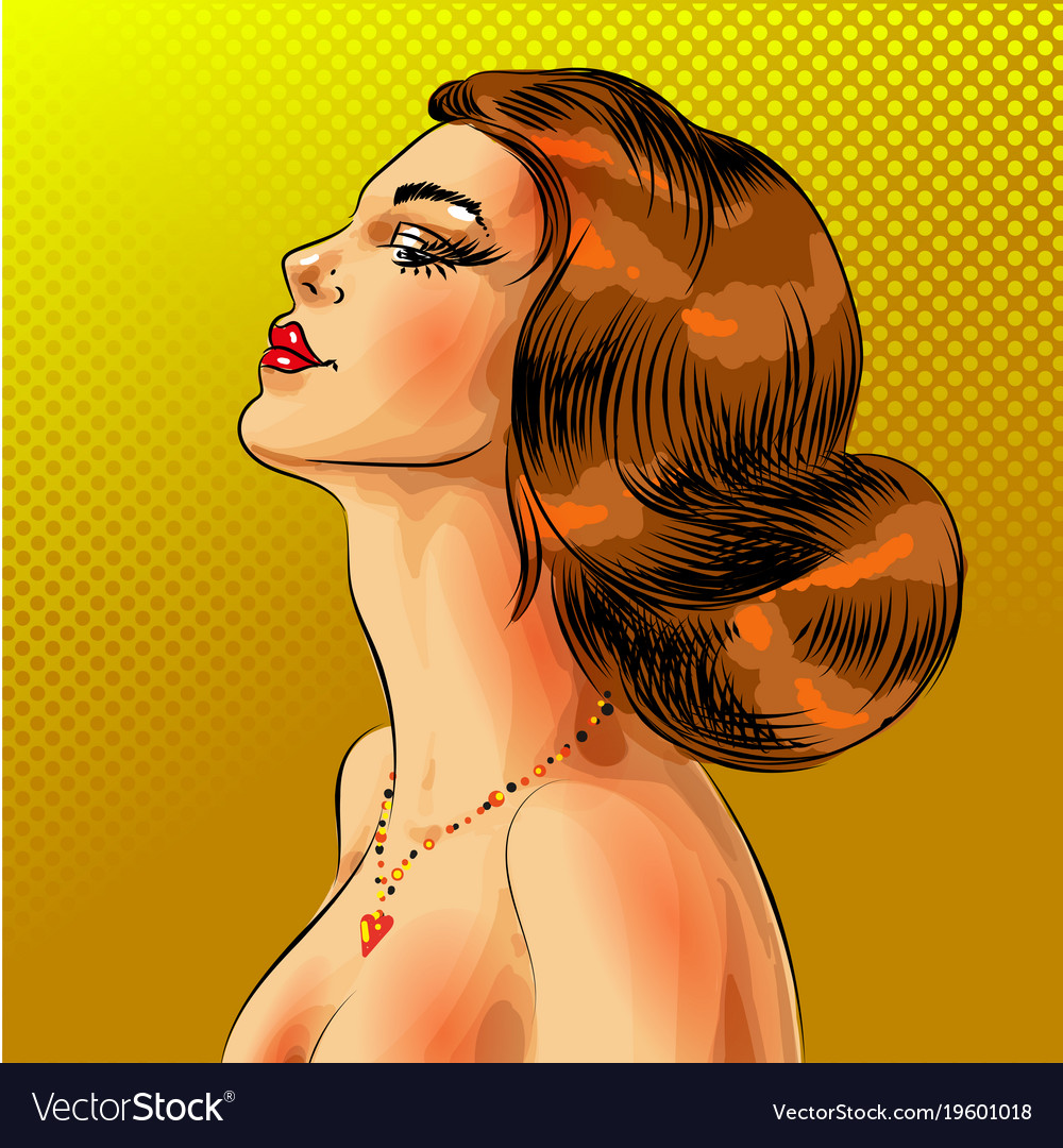 Pop art beautiful red haired woman portrait
