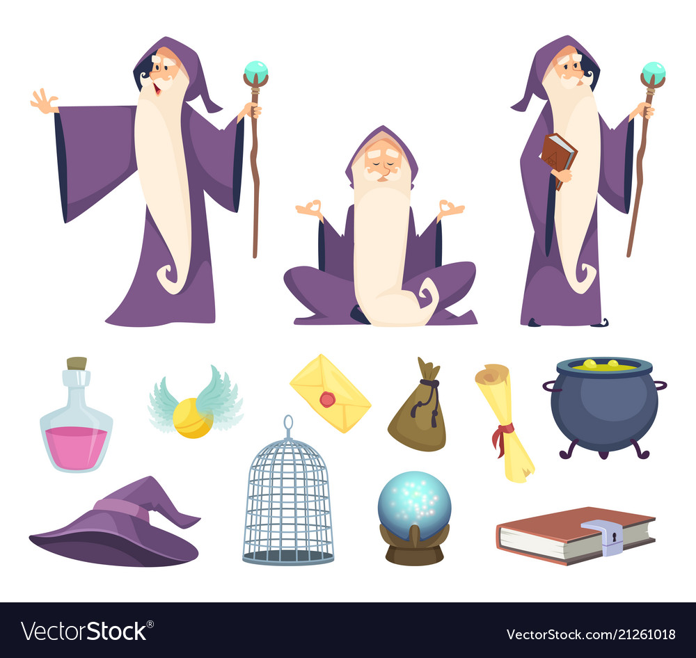 Set of magician tools and male wizard character