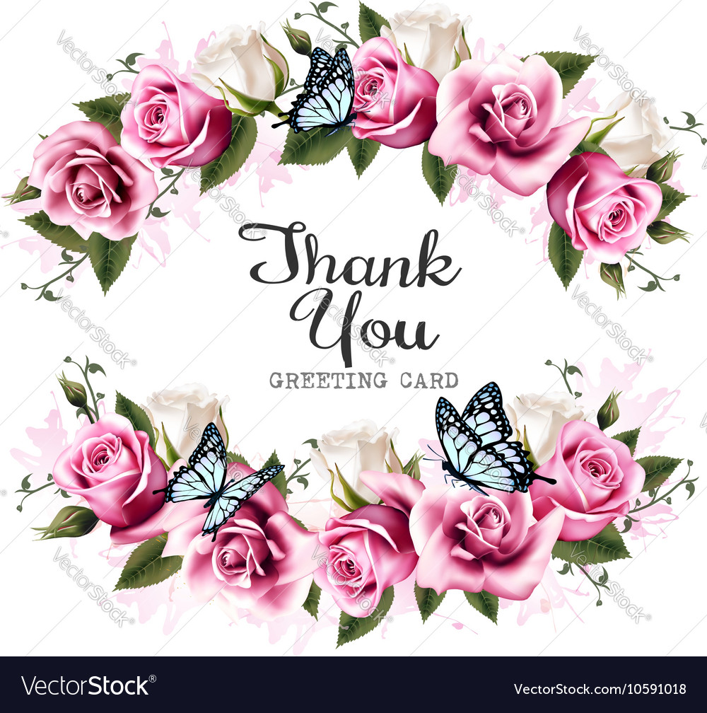 Beautiful Flower Thank You: Thank You Background With Beautiful Roses And Vector Image