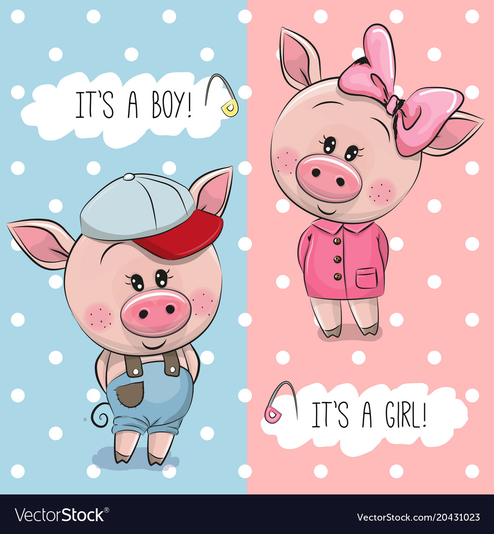 Baby shower greeting card with cute pigs vector image m4hsunfo