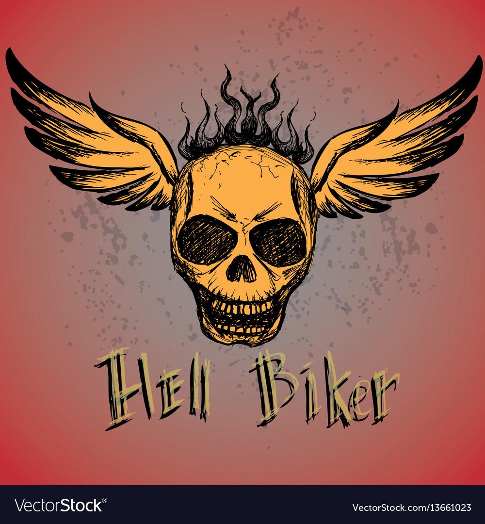Biker emblem logo or tattoo
