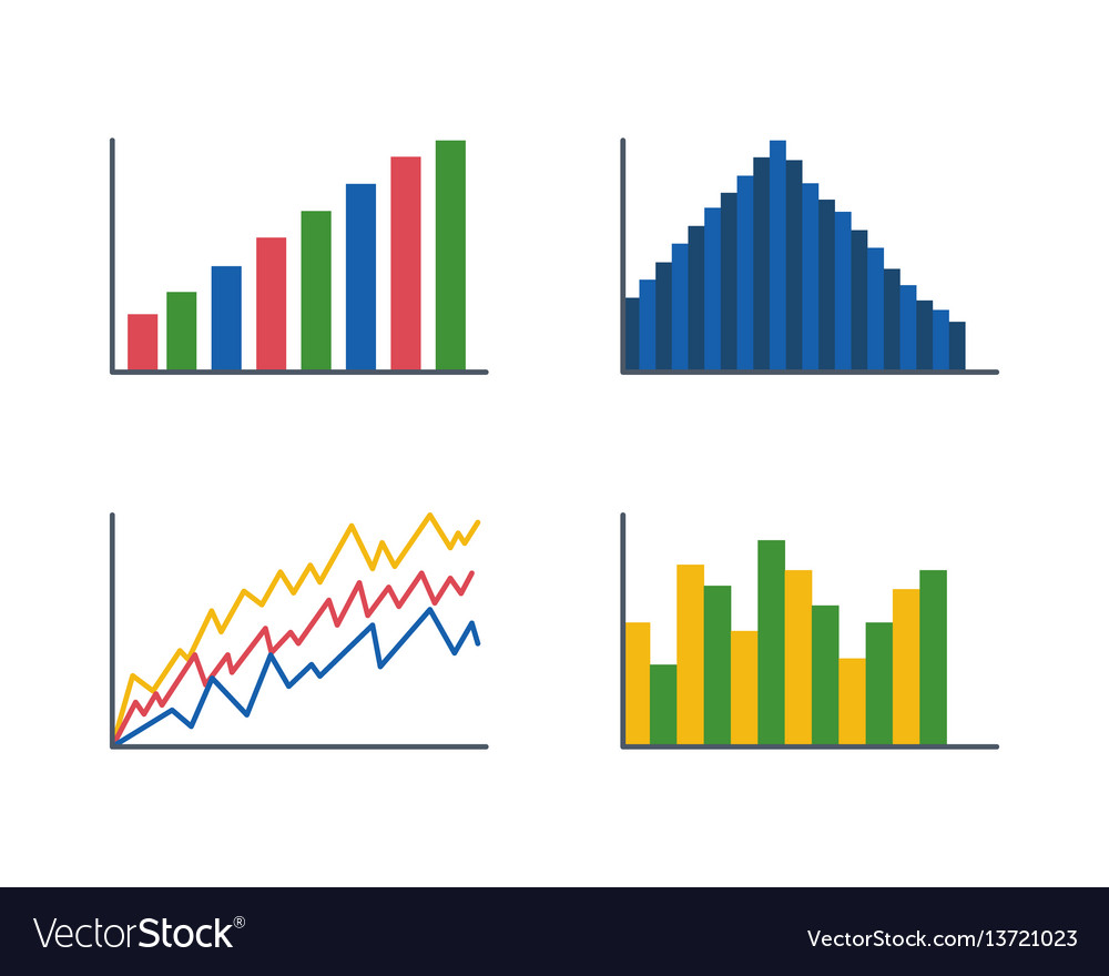 Business data graph analytics elements bar pie