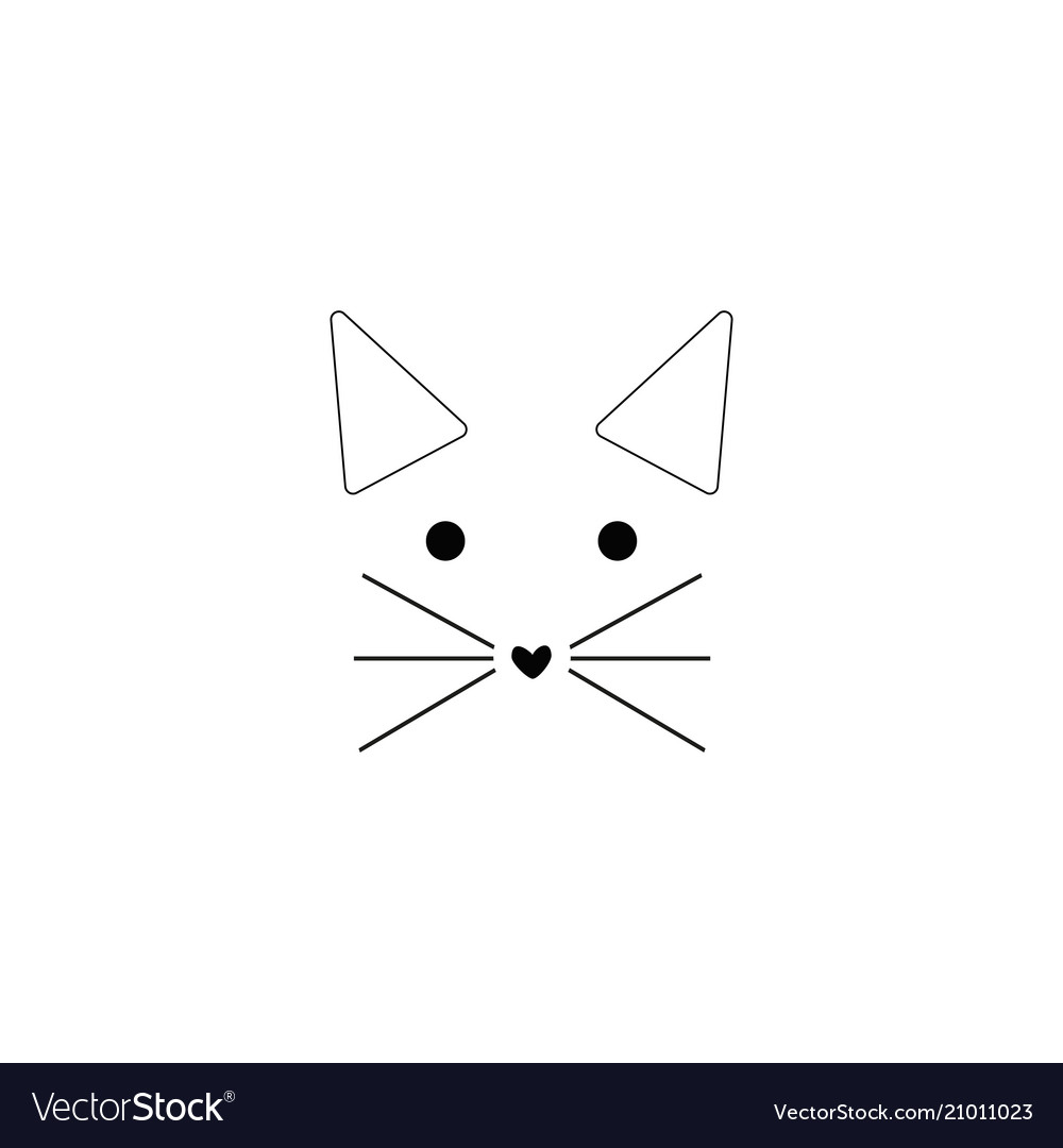 Cat line icon on white background vector image