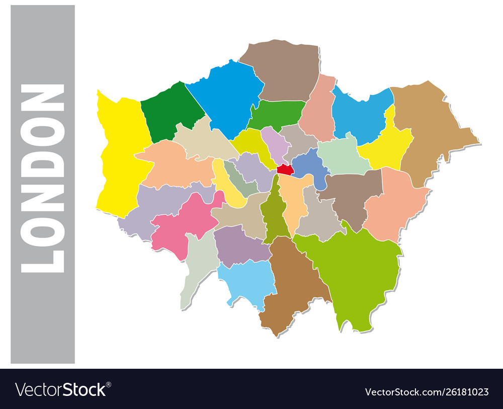 Colorful london administrative and political map
