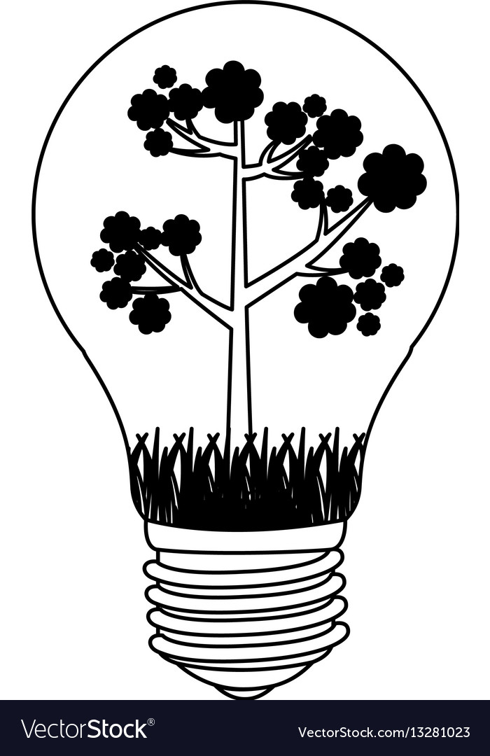 Contour bulb with tree inside icon