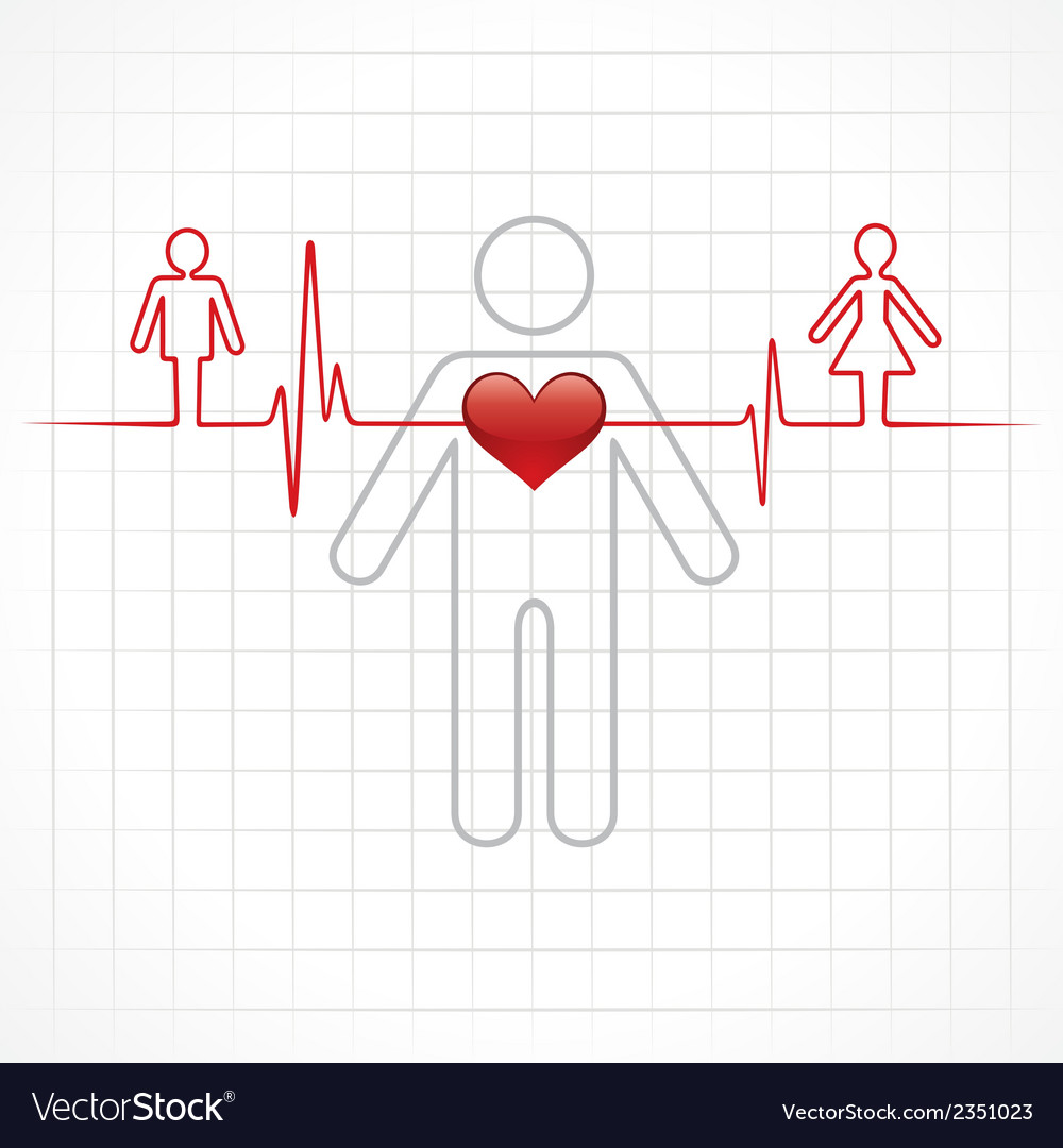 Heartbeat Make A Male And Female Symbol Stock Vec Vector Image