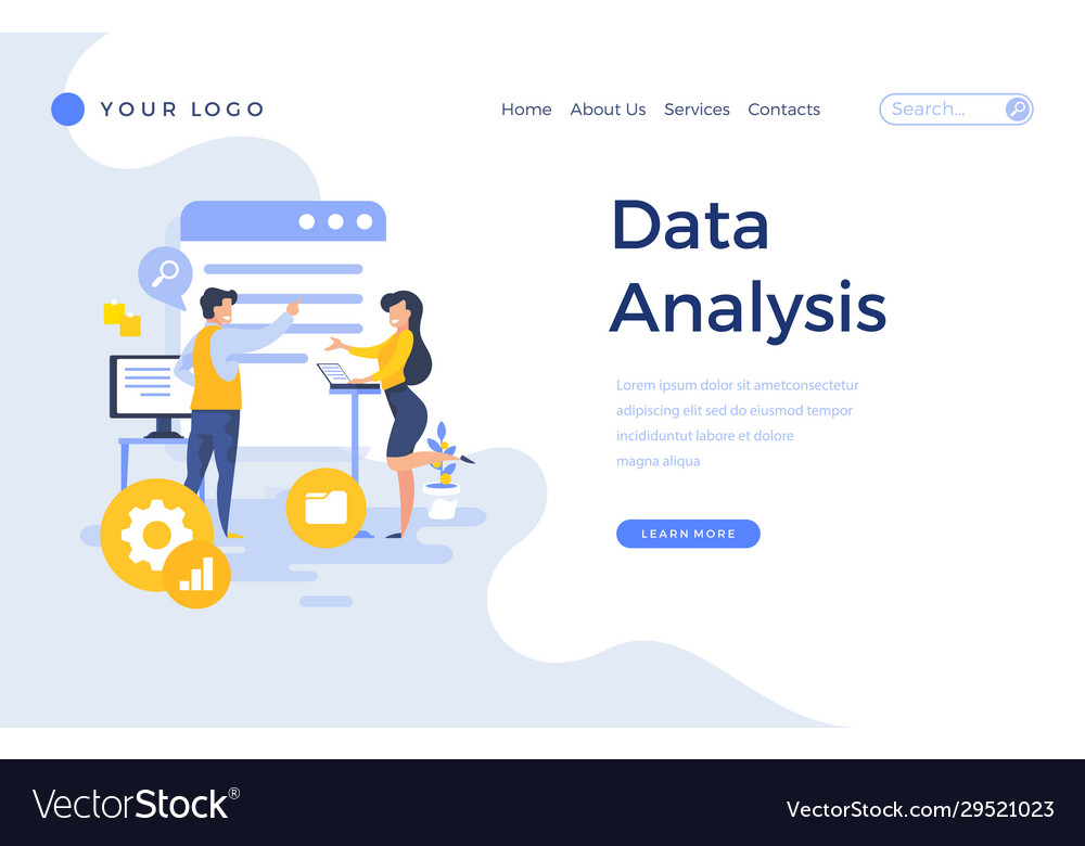 Landing page template data analysis concept