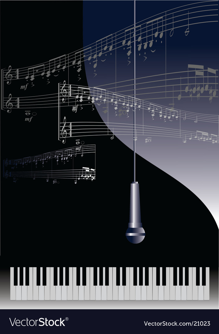 Piano and microphone vector image