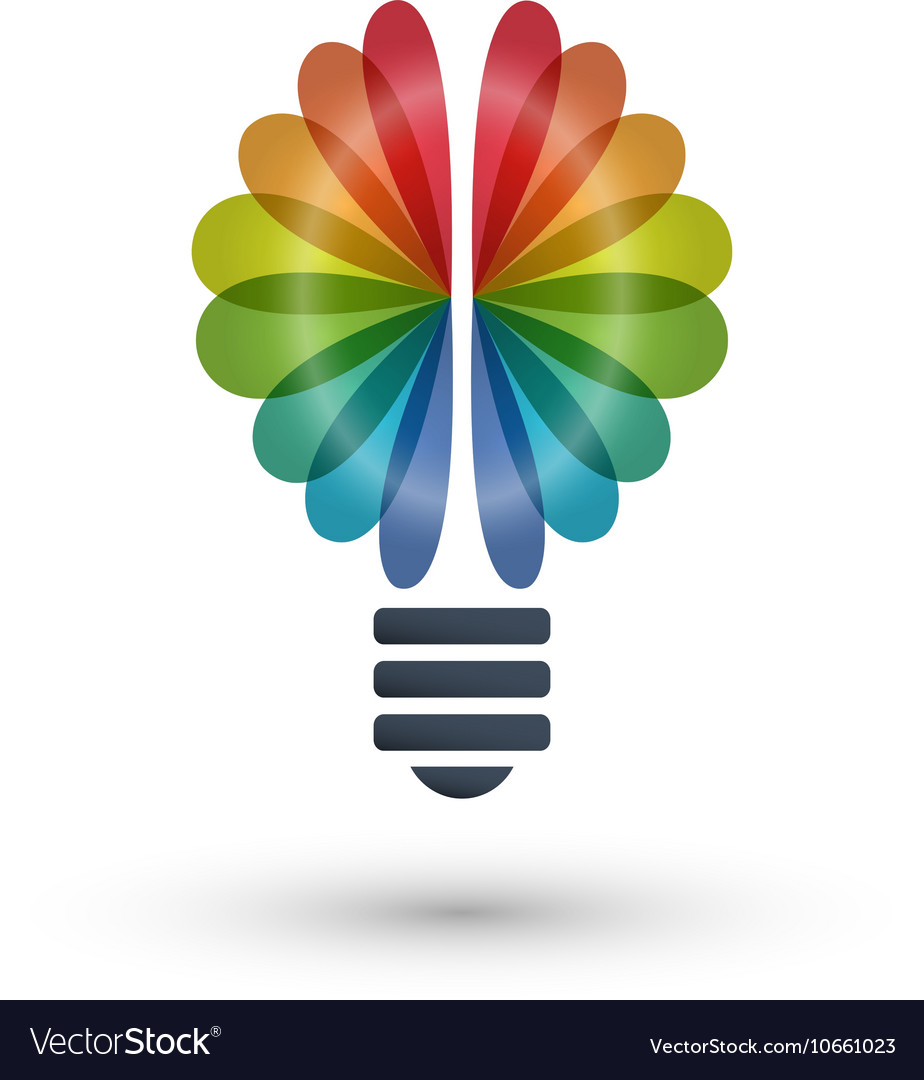 Rainbow brain and light bulb icon logo design