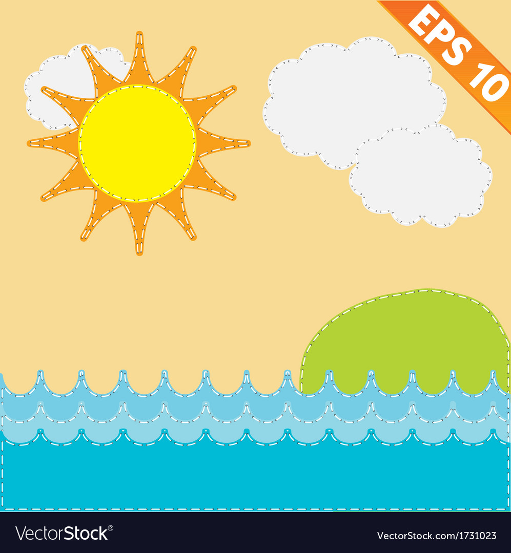 Sea Landscape with stitch style background vector image