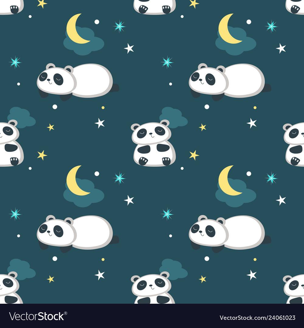 Seamless pattern with cute little panda
