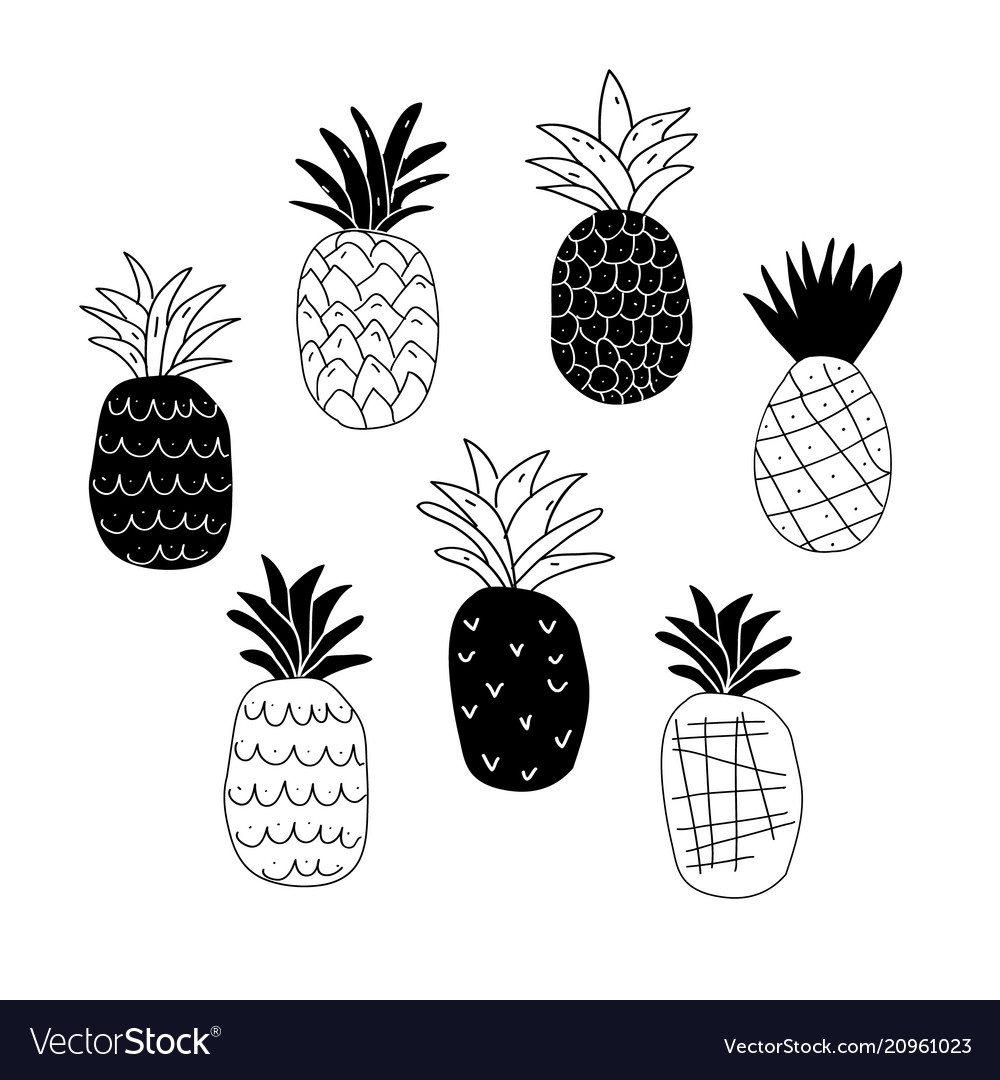Set of black and white abstract pineapples