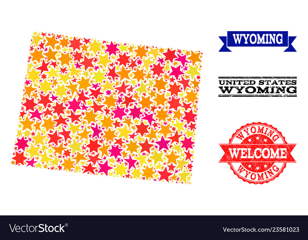 Star mosaic map of wyoming state and grunge stamps