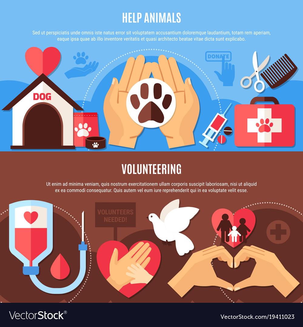 Volunteering charity horizontal banners