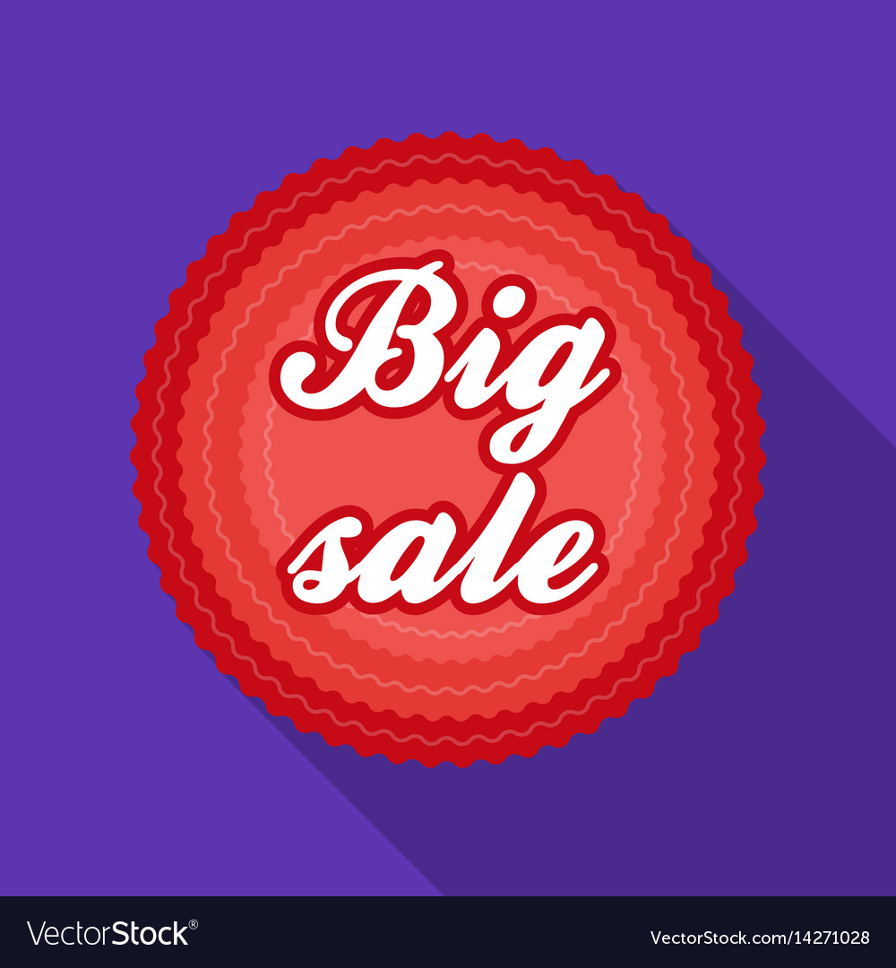 Big sale icon in flat style isolated on white
