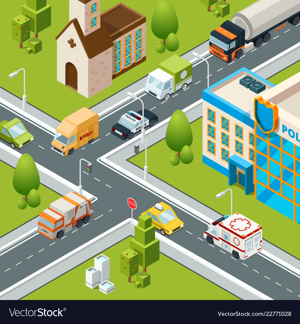 City crossroad traffic intersects cars moving