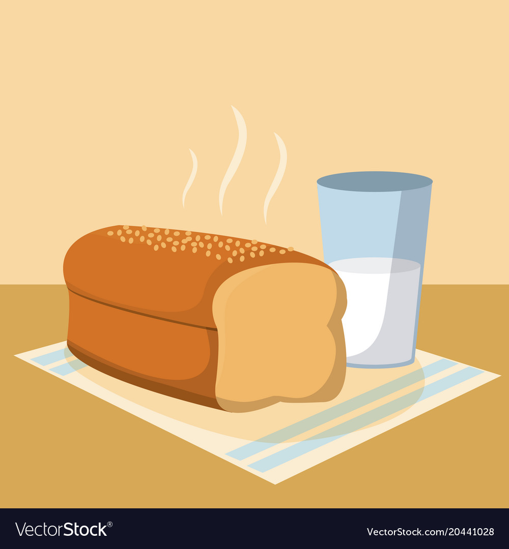 Delicious bread with milk glass vector image