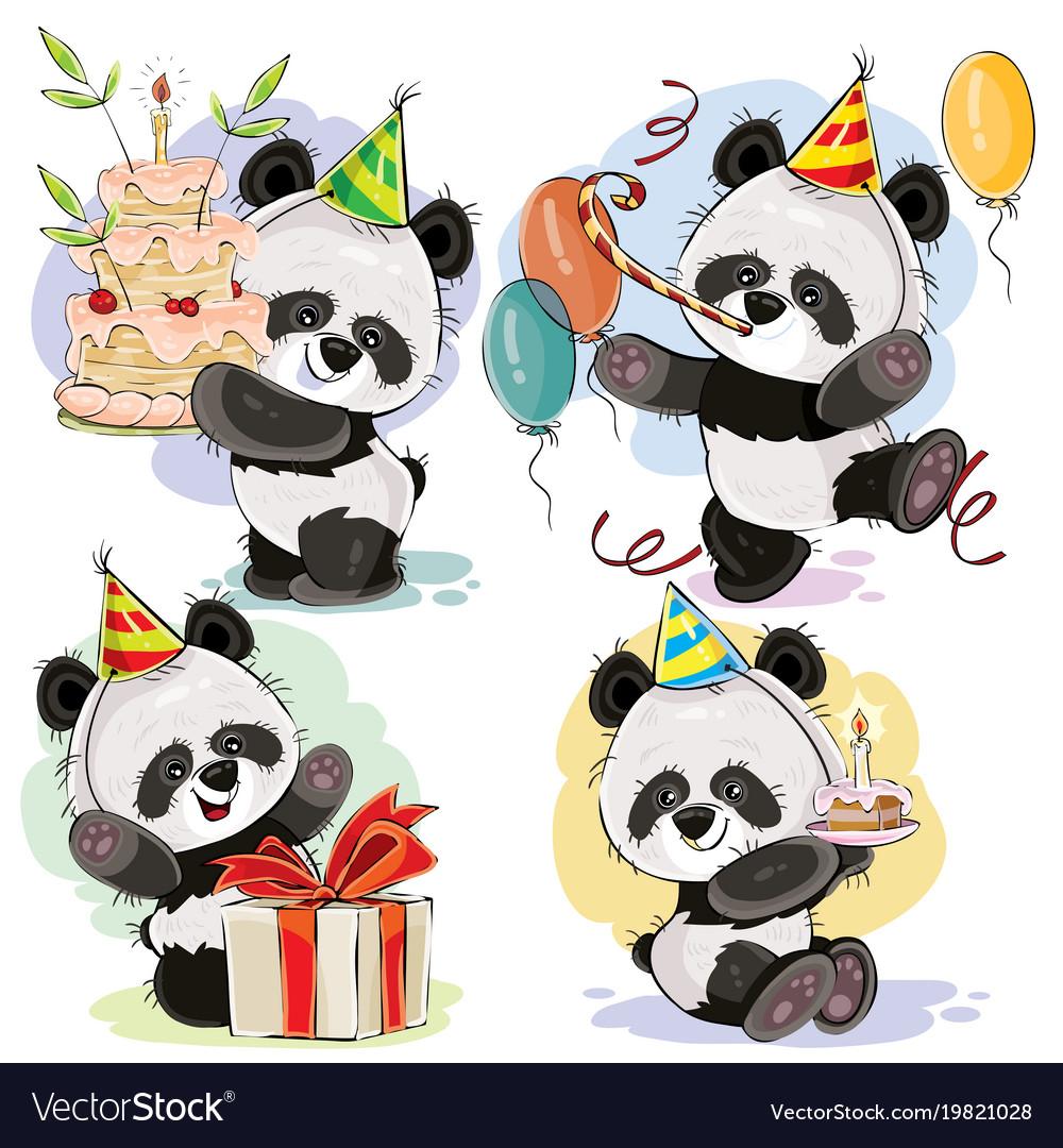 Happy birthday set with baby panda bears