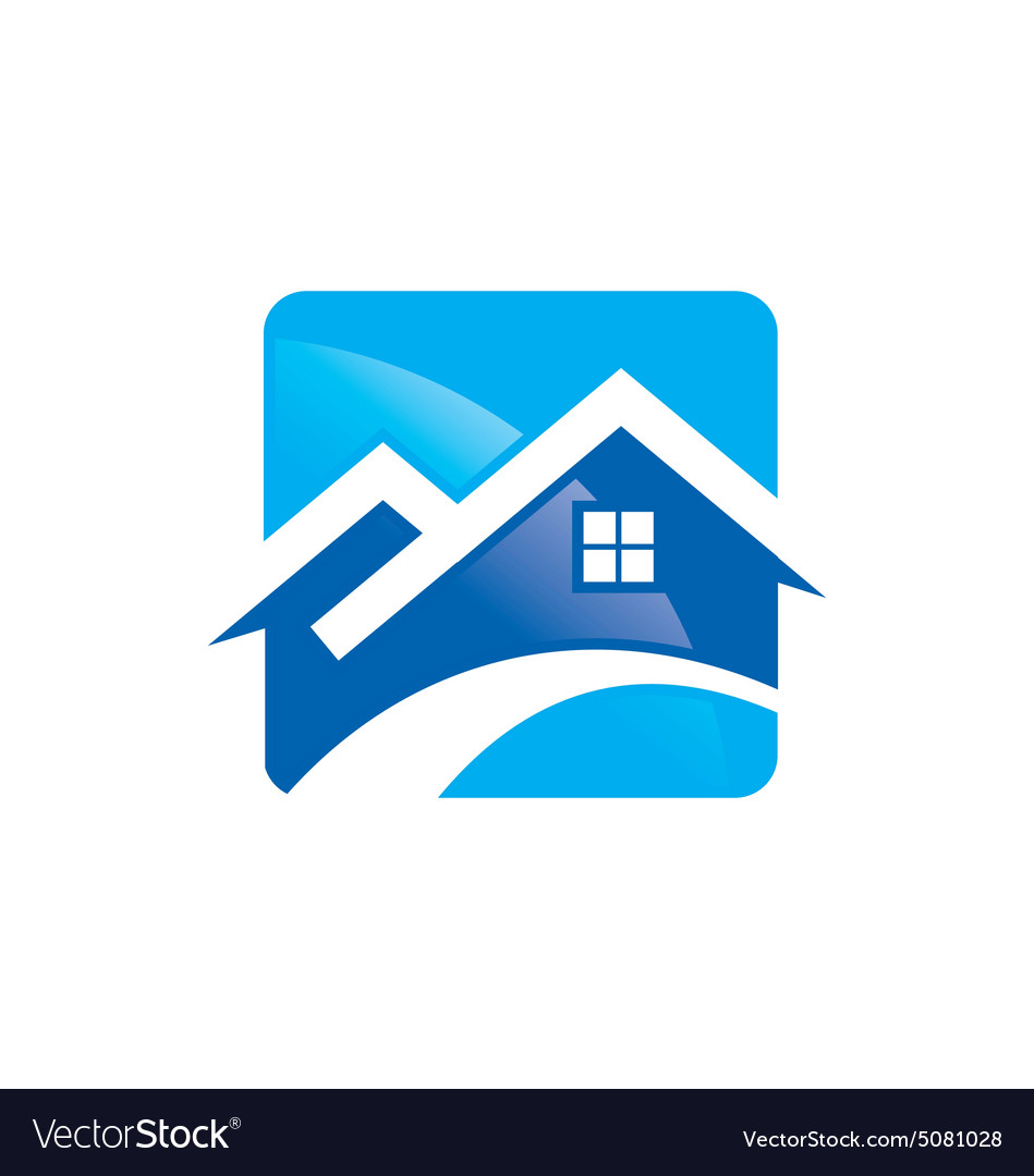 House roof construction icon logo