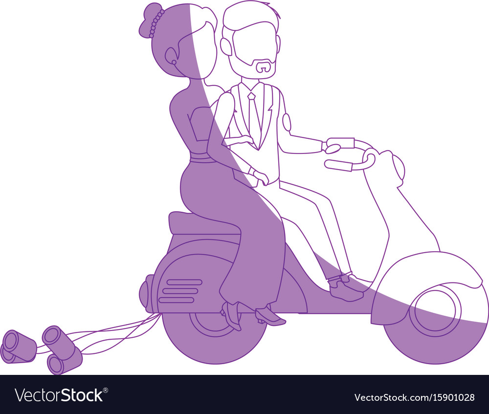 Isolated newlywed couple motorcycle vector image